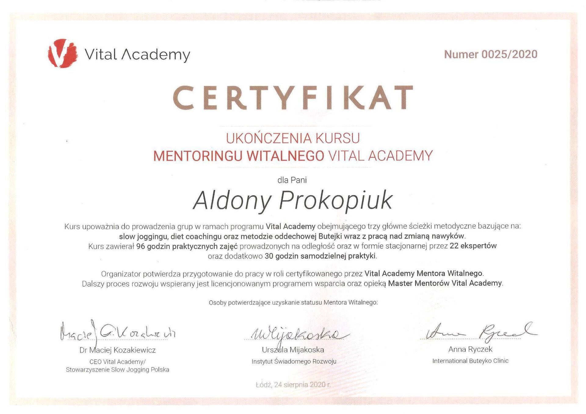 Certyfikat Mentora Witalnego Aldona P